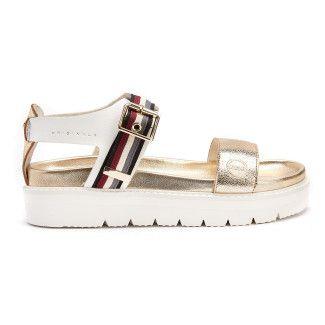 Sandały na platformie Maggie 405 Wht/Gold-001-001531-20