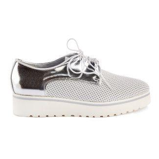 Sneakersy damskie na platformie APIA Monika L Calf Bianco/Argento