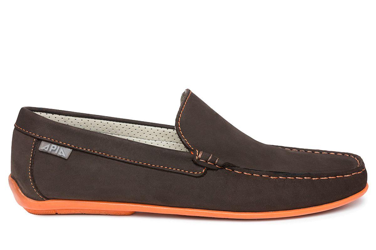 Mokasyny męskie APIA 5145 NL Brown 5606/Stit. Orange