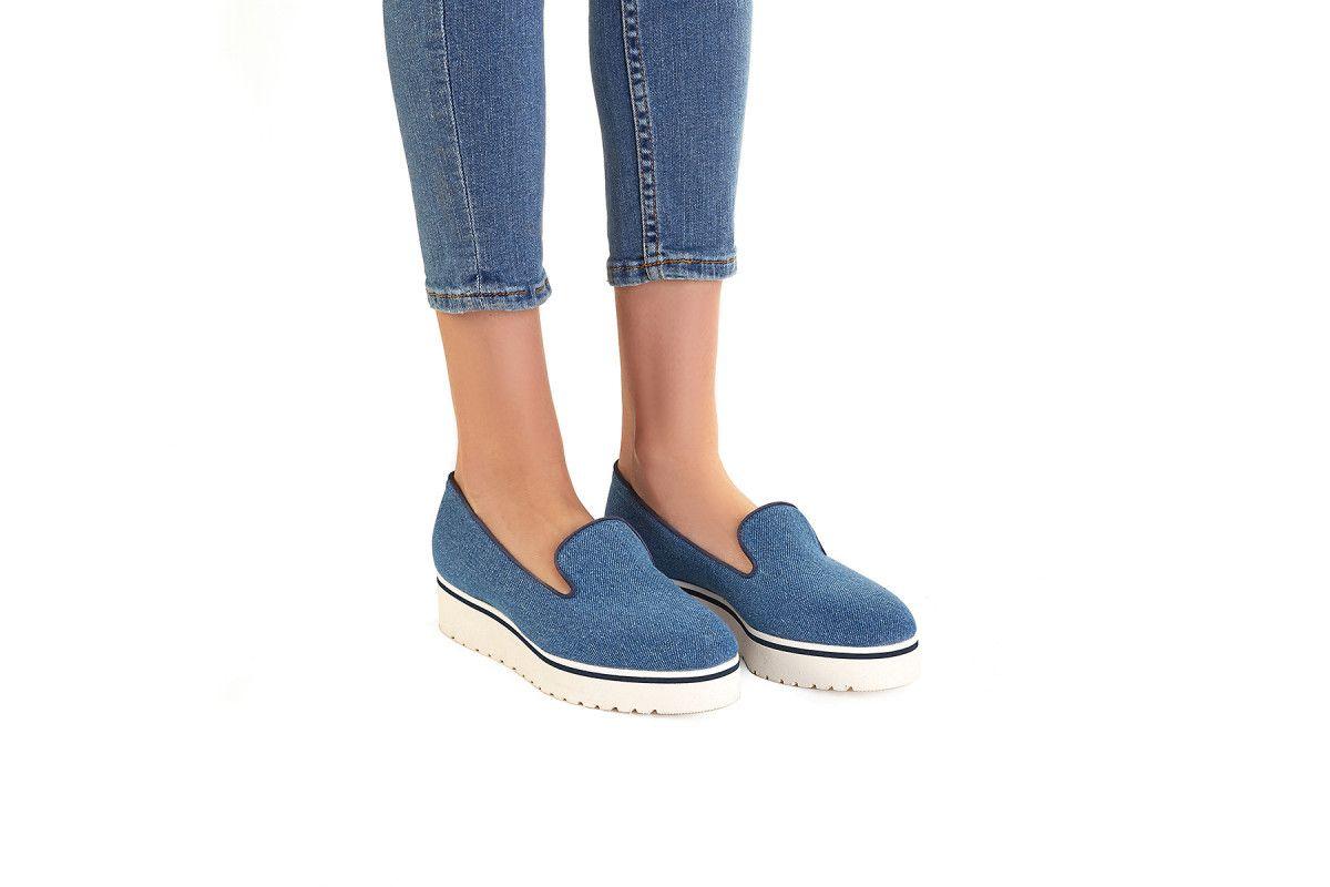 Mokasyny damskie na platformie APIA Moclight Tessuto Jeans