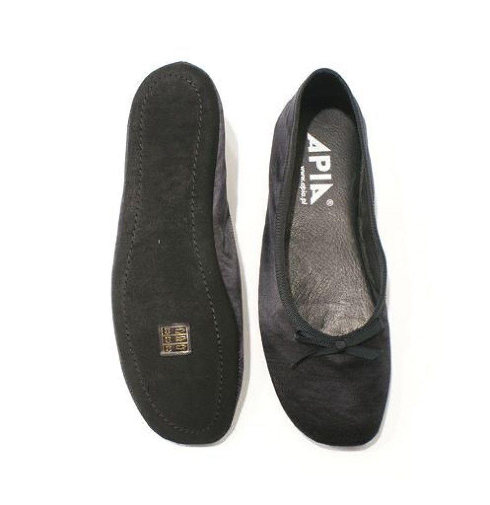 Women's Slippers Apia 13503 Black Satin