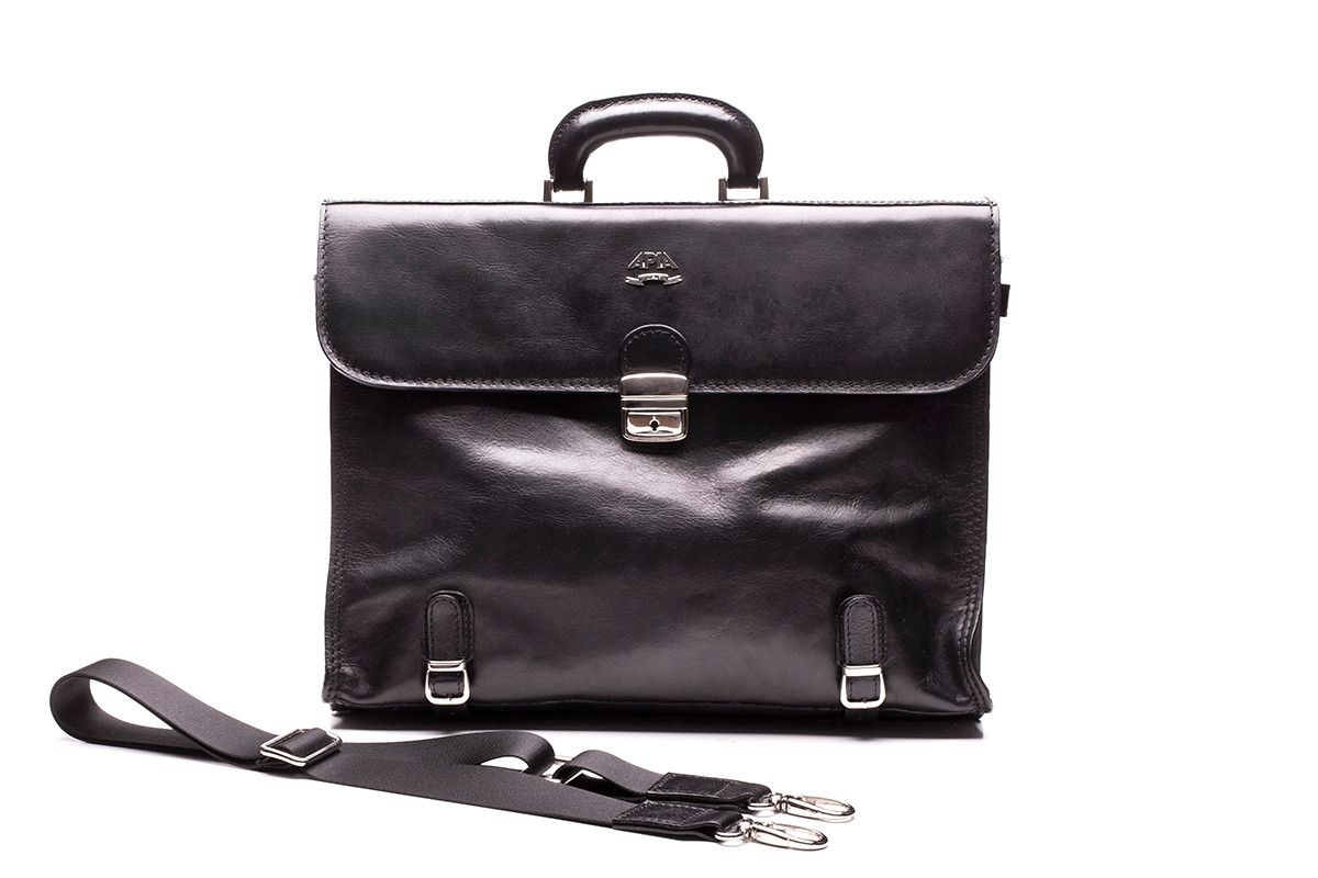 Men's Leather Briefcase APIA 121 Nero Piombo
