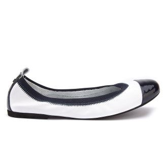 Women's Ballet Pumps APIA Due E Nappa Bianco/Naplack Blu