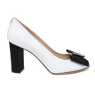 Women's Peep Toe Pumps APIA Irene 27 Cap. Bianco Nero