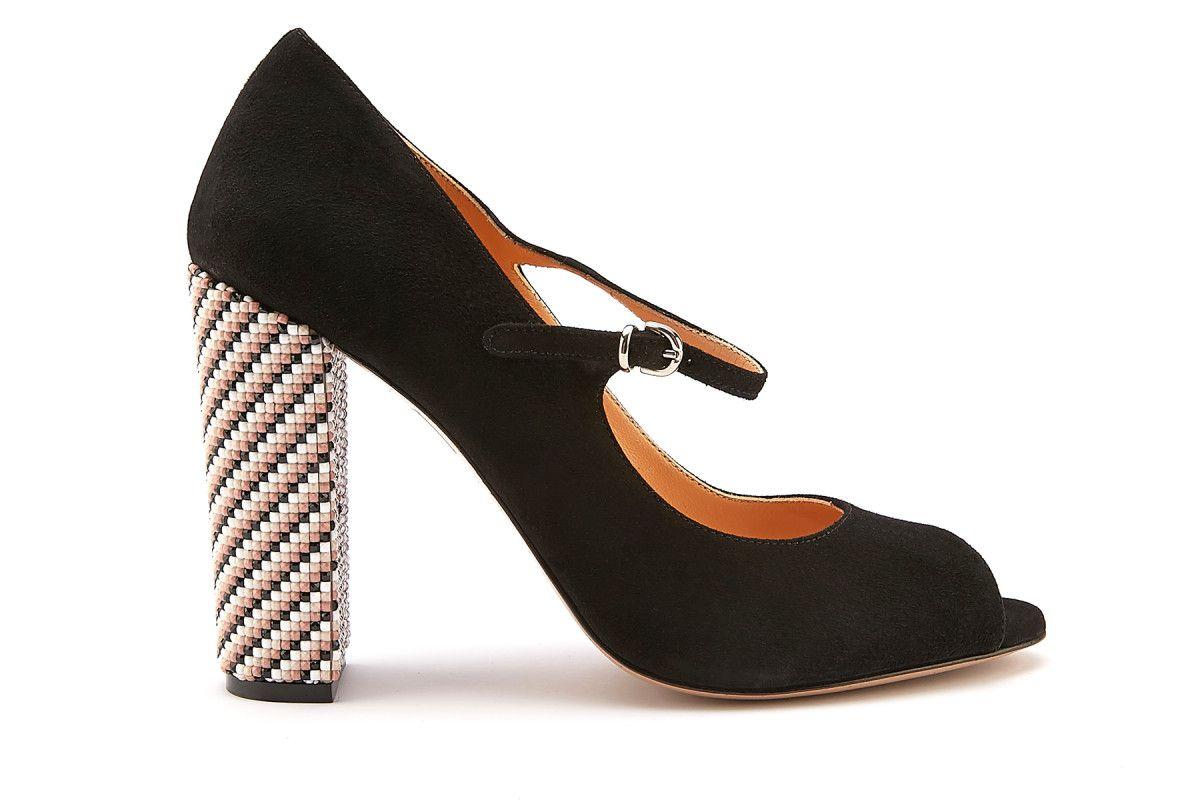 6dacb78f881 Women s Peep Toe Block Heel Pumps APIA Sorrento Nero Argento - APIA NL