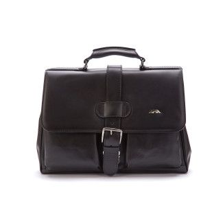 Men' Leather Briefcase APIA Adwokat 114 Nero