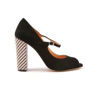 Women's Peep Toe Block Heel Pumps APIA Sorrento Nero/Argento