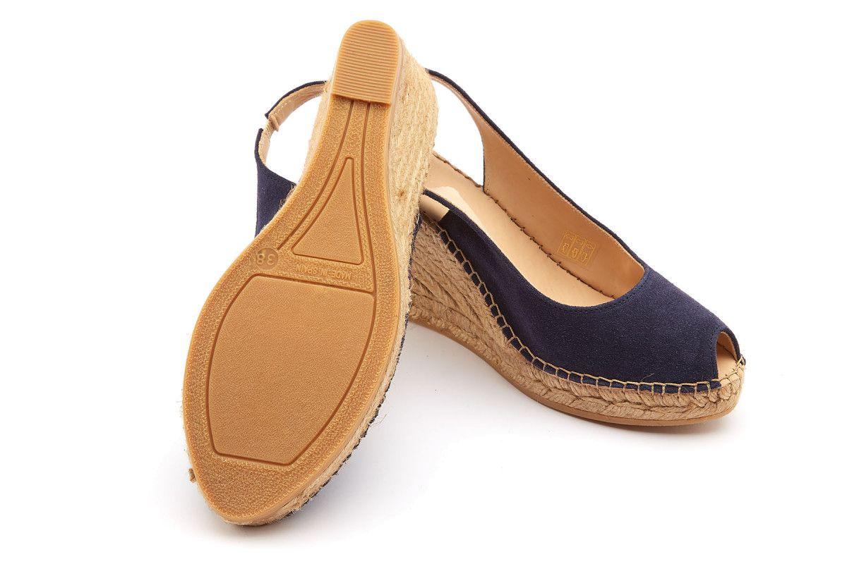 Apia Womens Wedge Sandals Carina Marino Be Inside Flats Cariana Navy 38 Peep Toe