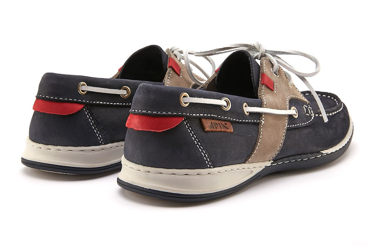 Men's Sport Boat Shoes APIA Nautic 04 Navy/Grey/Red