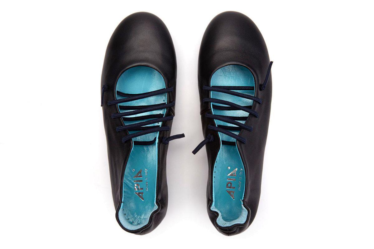 Women's Ballet Pumps APIA Calapia 03 Calf Nero/Laccio Blu