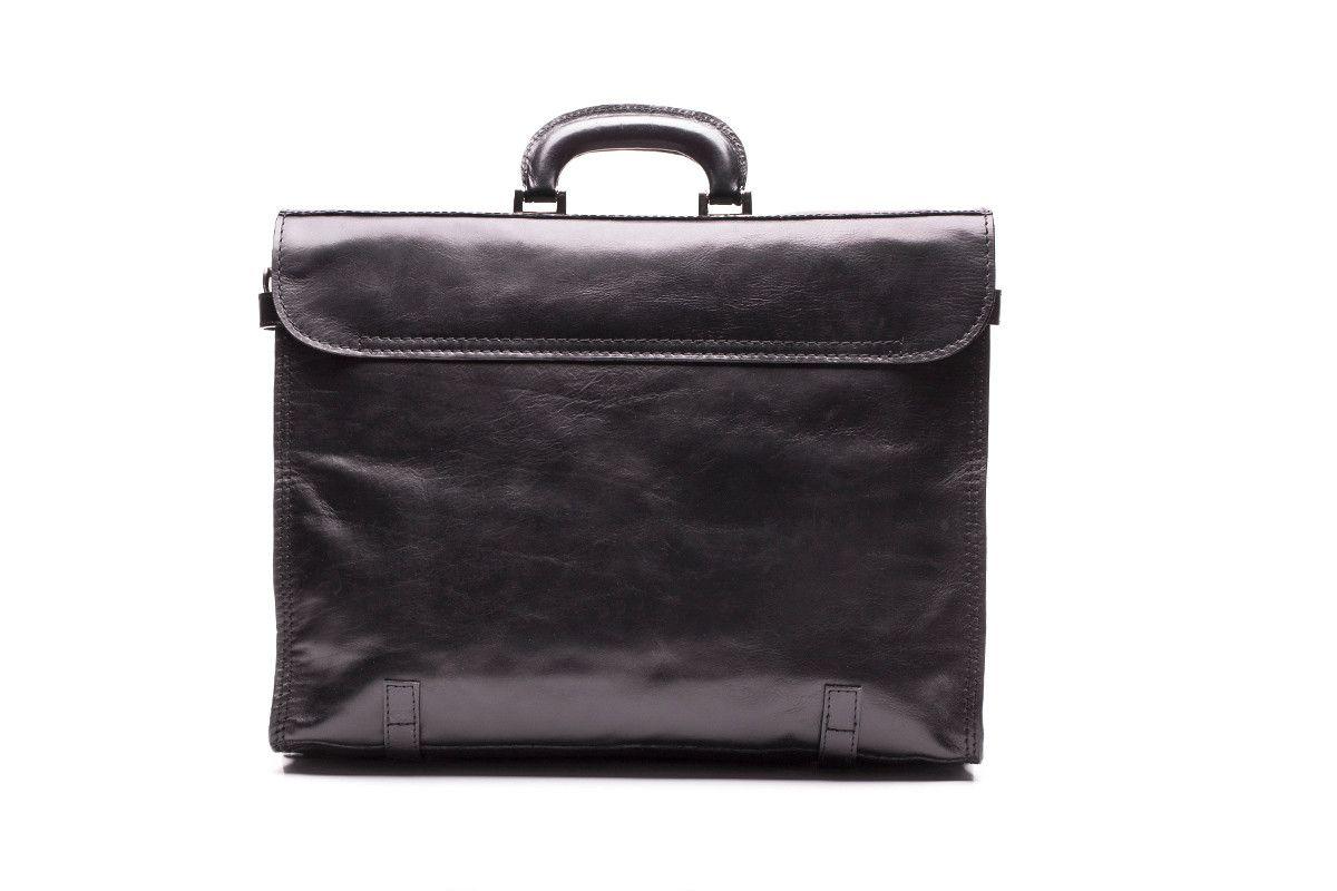 Men's Leather Briefcase APIA 121 Nero Piombo