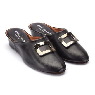 Women's Slippers APIA 18281 Nappa Negro