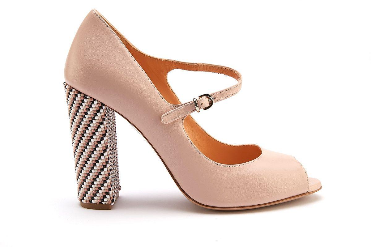 00b6611c8 Women's Peep Toe Block Heels Pumps APIA Sorrento Cipria/Oro - APIA FI