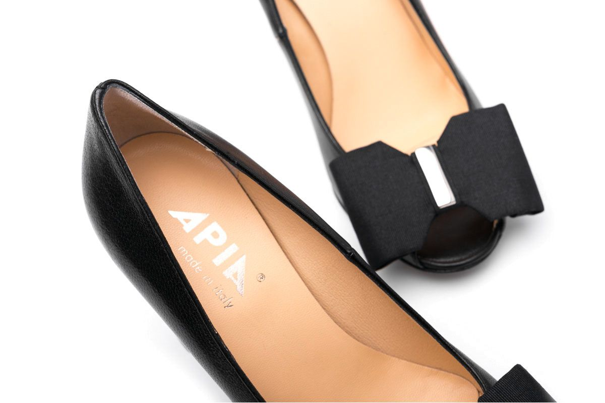 Women's Peep Toe Pumps Apia Irene 27 Nappa Nero