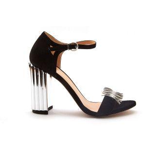 Women's Block Heel Sandals APIA Napoli Nero/Argento