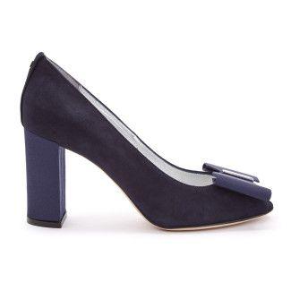 Women's Peep Toe Pumps APIA Irene 27 Suede Blu