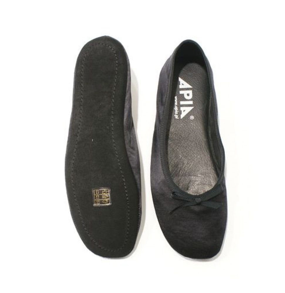 Women's Slippers Apia 13503 Black Satin
