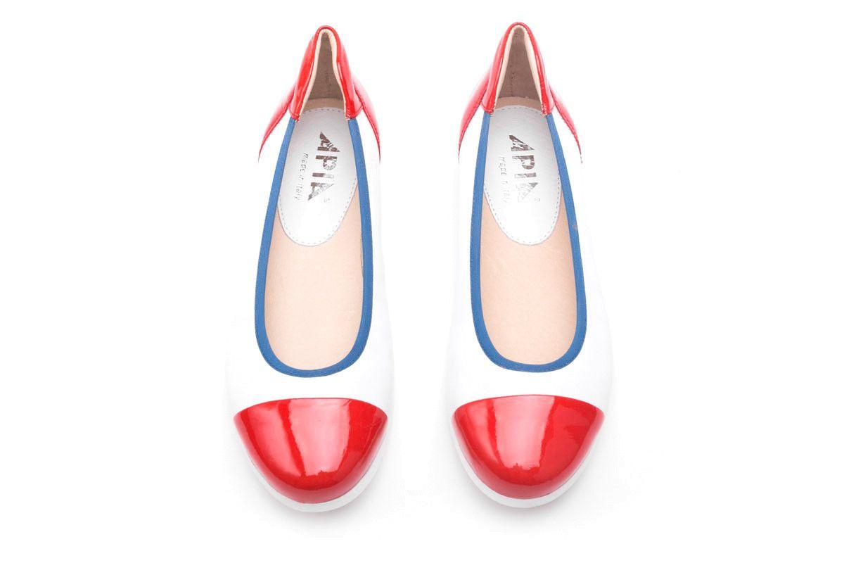 Women's Ballet Pumps Apia 3242 Rosso/Bianco/Navy