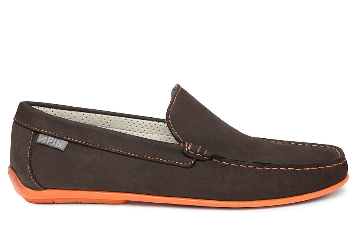 Mens Loafers Apia 5145 Nl Brown 5606/Stit. Orange
