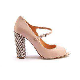 Women's Peep Toe Block Heels Pumps APIA Sorrento Cipria/Oro