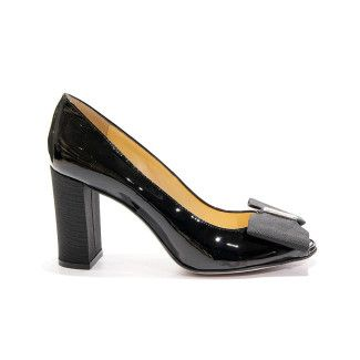 Women's Peep Toe Pumps Apia Irene 27 Vernice Nero