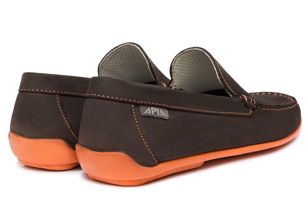 Mens Loafers Apia 5145 Nl Brown 5606/Stit. Orange