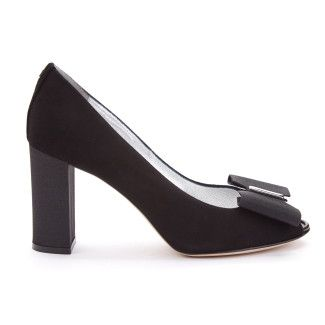 Women's Peep Toe Pumps APIA Irene 27 Suede Black