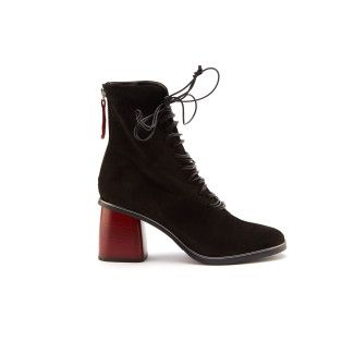 Women's Lace Up Heeled Ankle Boots APIA Kasia S Cam. Nero
