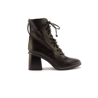 Women's Heeled Lace Up Ankle Boots APIA Kasia S Nappa Nero