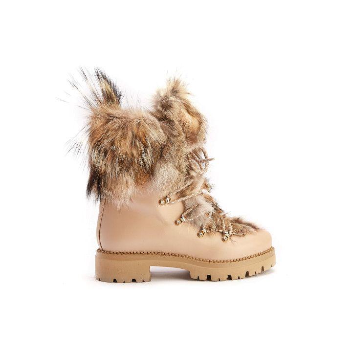 Lace Up Boots T464LAI Beige/Rossa-001-001565-20