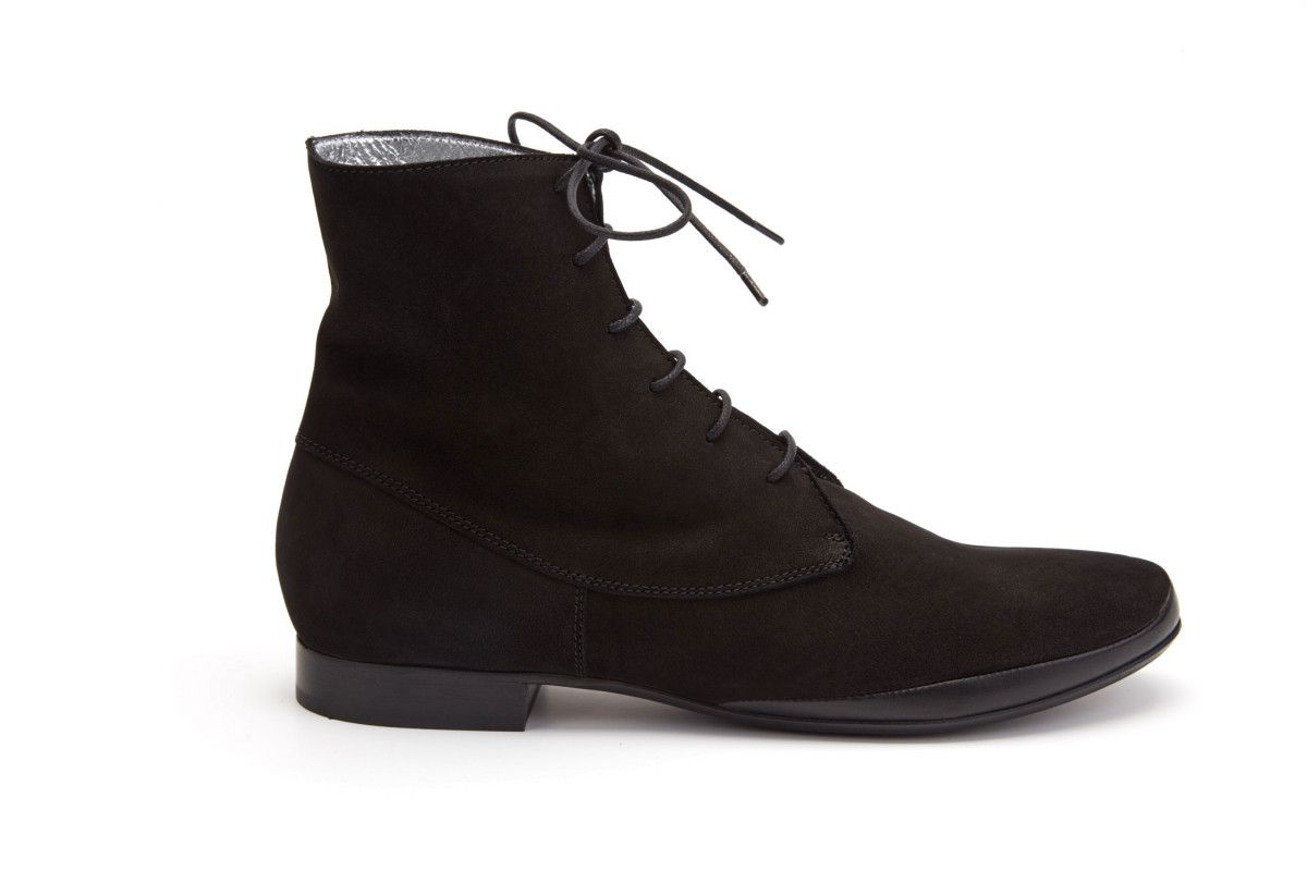 Women's Lace Up Ankle Boots APIA Artista Nabuk Nero
