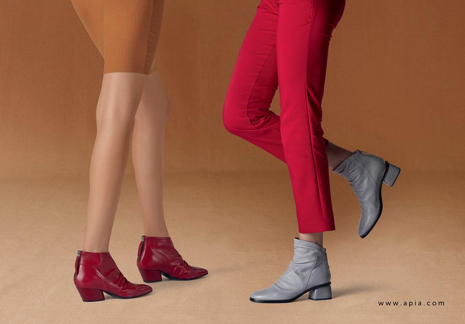 Apia botki na słupku ankle boots kowbojki damskie