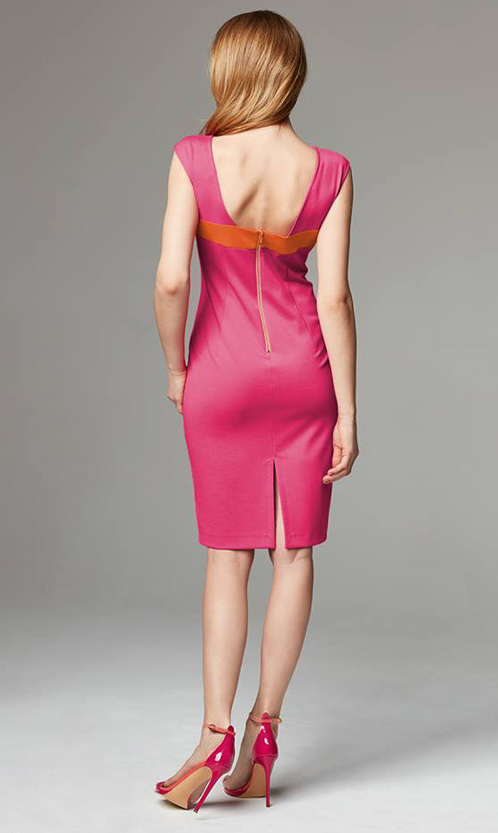 sandały na szpilce Apia 6045 Fuxia Salmone sukienka Taranko